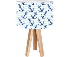 Lampe de chevet enfant trépied bois abat jour blanc et bleu