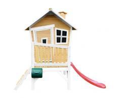Maisonnette en bois avec toboggan rouge