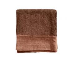 Serviette de toilette finition lin lavé terre cuite 100x150