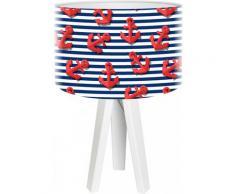 Lampe de chevet enfant trépied blanc abat jour rouge et bleu
