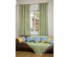 DJERBA - Rideau ajustable coton jaune turquoise vert 140 x 250 Ã 280