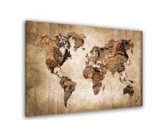 Tableau carte du monde effet bois Toile imprimée