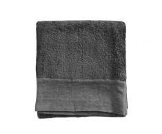 Serviette de toilette finition lin lavé gris plomb 100x150