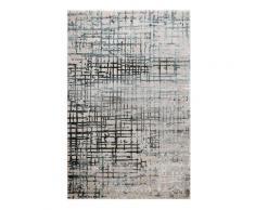 Tapis vintage relief gris/bleu pétrole pour salon, chambre 225x160