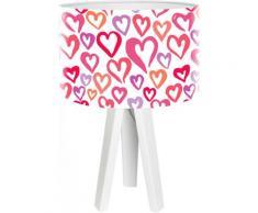 Lampe de chevet enfant trépied blanc abat jour rose et violet