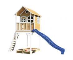Haute maisonnette sur pilotis avec toboggan bleu