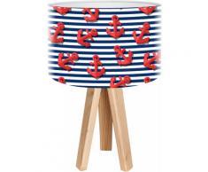 Lampe de chevet enfant trépied bois abat jour rouge et bleu