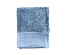 Serviette de toilette finition lin lavé turquoise 100x150