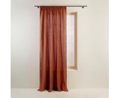 Rideau à ruban fronceur 144x280 cm Terracotta et bourdon noir en Lin