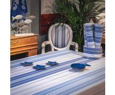 Nappe enduite 100% Coton bleu 300 x 160 cm