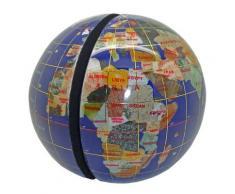 Serre livres globe terrestre en pierres fines bleu lapis