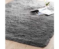 Tapis à poils longs en tissu gris 140 x 200 cm