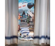 CASABLANCA - Rideau ajustable coton blanc et bleu roi 140 x 290 Ã 320