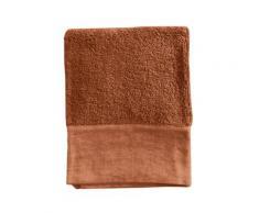 Serviette de toilette finition lin lavé orange foncé 100x150