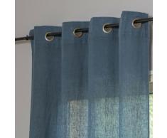 Rideau en lin lavé 140x290 Bleu de Prusse