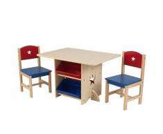 Table rangement enfant bois naturel et bacs rouge et bleu