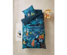 Parure housse de couette + taie d'oreiller enfant JUNGLE NIGHT Oeko-Tex® bleu / multicolore