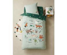 Pack housse de couette + taie d'oreiller enfant Bio* collection CLASSE VERTE Oeko-Tex® vert
