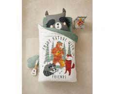 Parure housse de couette+ taie d'oreiller enfant en coton bio* FOREST BAND écru / multicolore