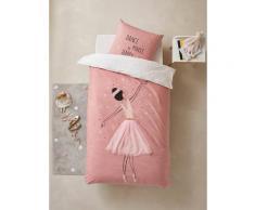 Parure housse de couette + taie d'oreiller enfant ENTRECHAT Oeko-Tex® rose