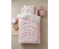 Parure housse de couette + taie d'oreiller enfant COEURS EN FETE Oeko-Tex® rose / multicolore