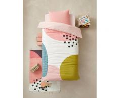 Parure housse de couette + taie d'oreiller enfant ARTY Oeko-Tex® rose / multicolore