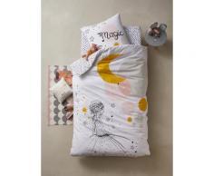 Parure housse de couette + taie d'oreiller enfant PRINCESSE&PETITS POIS Oeko-Tex® blanc