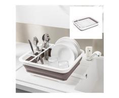 Egouttoir à vaisselle pliable taupe et blanc Mathon