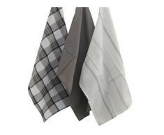 3 Torchons en coton à motifs noirs 45 x 65 cm Kela