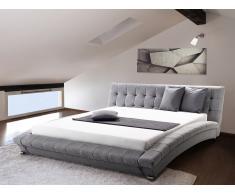 Lit design en tissu - lit double 180x200 cm - sommier inclus - Lille - gris