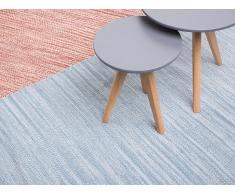 Tapis rectangulaire en coton - bleu clair - 80x150 cm - Derince