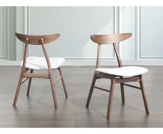 Chaise de salle à manger - chaise en simili-cuir - blanc - Lynn