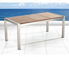 Table de jardin acier inox - plateau en bois - triple 180 cm - Grosseto