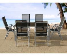 Ensemble de jardin aluminium - noir - 6 chaises - Table 160 cm - Catania