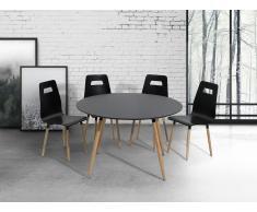 Table de salle à manger - table de cuisine - noir - 120 cm - Bovio