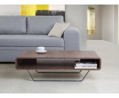 Table basse - table de salon en acier inox et noyer vernis - Almada