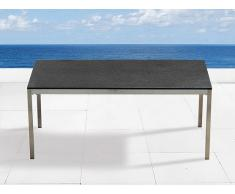 Table de jardin acier inox - plateau granit simple 180 cm noir flambé - Grosseto