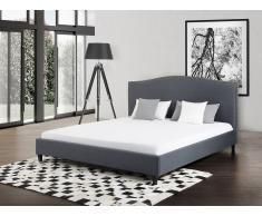 Lit en tissu - lit double 160x200 cm - gris - sommier inclus - Montpellier