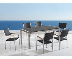 Table de jardin acier inox - plateau granit triple noir flambé 180 cm avec 6 chaises en rotin - Grosseto