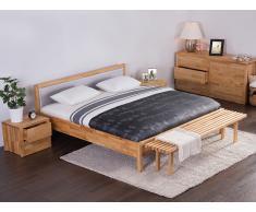 Lit design en bois - lit double 180x200 cm - gris - sommier inclus - Carris
