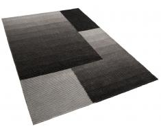 Tapis rectangulaire polyester - 300x400 cm - noir gris - Ankara