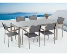 Table de jardin acier inox - plateau simple en granit gris poli 180 cm avec 6 chaises en textile gris - Grosseto