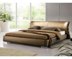 Lit design en cuir - lit double 160x200 cm - or - sommier inclus - Paris