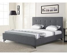 Lit en tissu - lit double 180x200 cm - gris - sommier inclus - Ambassador