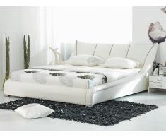 Lit design en cuir - lit double 160x200 cm - blanc - sommier inclus - Nantes