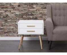 Table de nuit - meuble de rangement - chevet blanc - Alabama