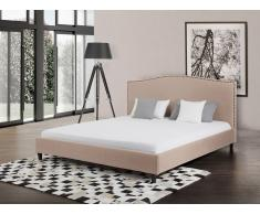 Lit en tissu - lit double 140x200 cm - beige - sommier inclus - Montpellier