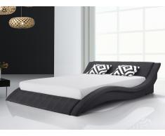 Lit design en tissu - lit double 180x200 cm - sommier inclus - Vichy - noir