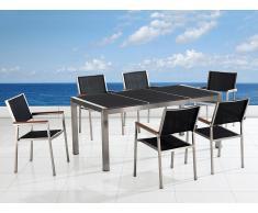 Table de jardin acier inox - plateau granit triple noir poli 180 cm avec 6 chaises en textile noir - Grosseto