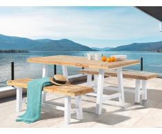 Table et 2 bancs de jardin en bois - blanc - Scania